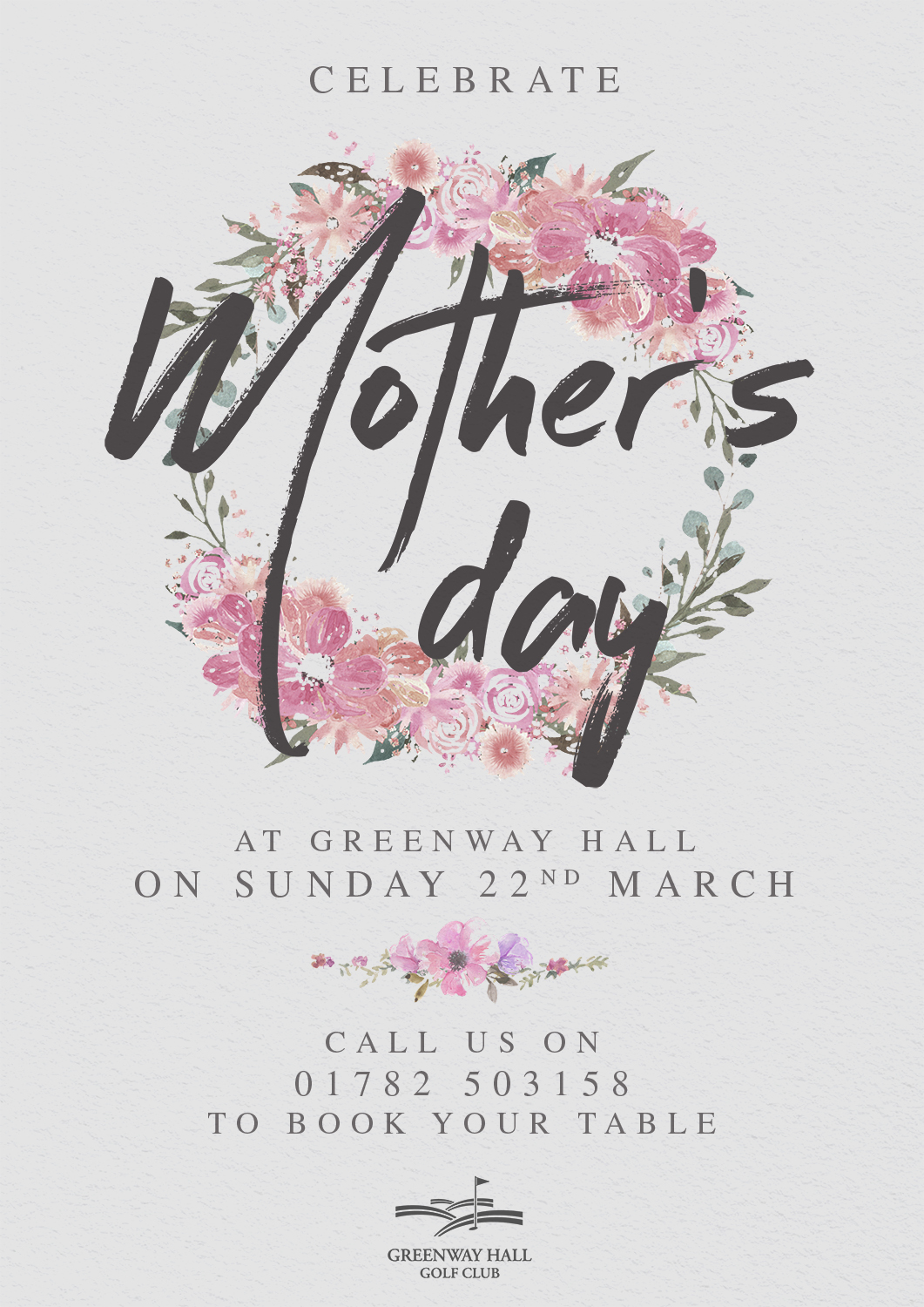Come and join us for a lovely Mother's Day here at Greenway Hall