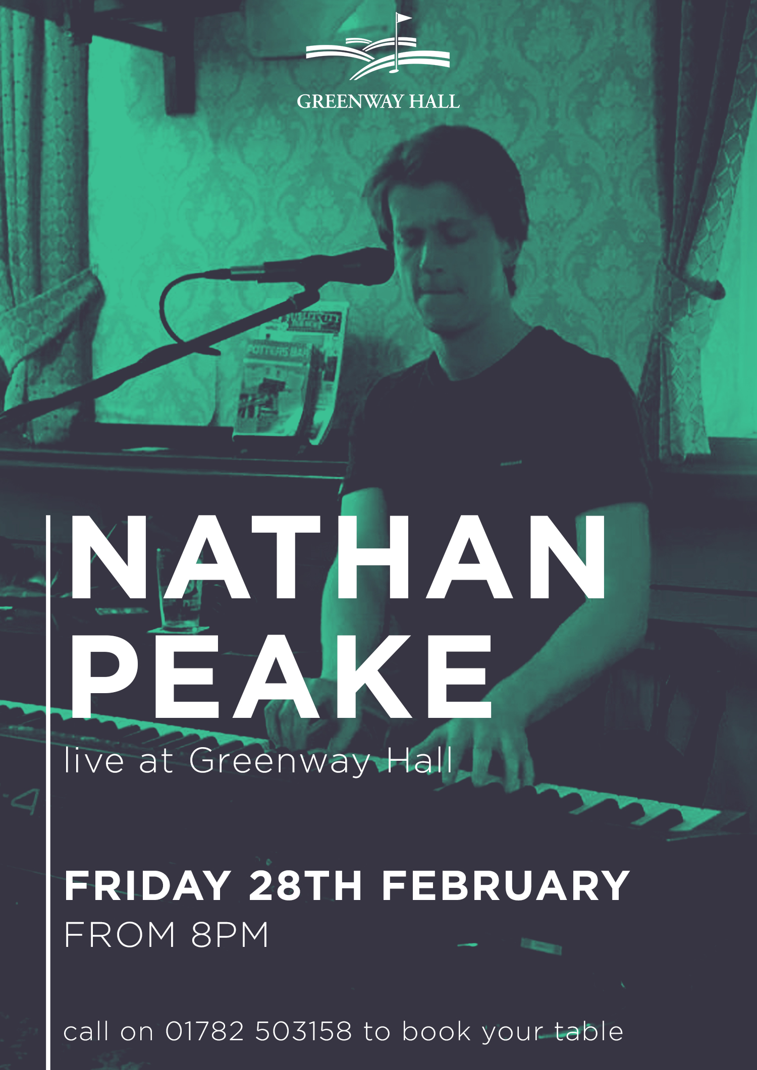 Come and see new artist Nathan Peake perform live at Greenway Hall on 28th February 2020