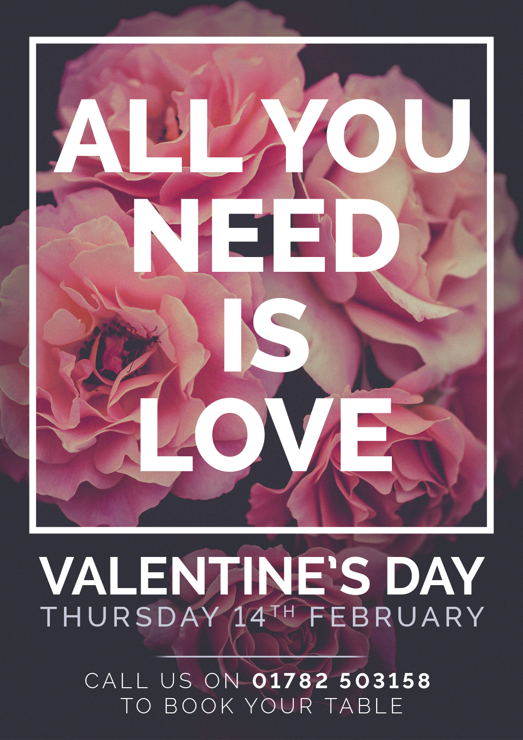 Come and join us for Valentine's 2019 to book a table call 01782-503158 option 2